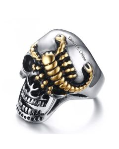 Personalized Scorpion Skull Mens Ring 30mm Stainless Steel
