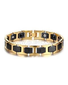 Personalized Mens Magnetic Bracelet Ceramic Stainless Steel
