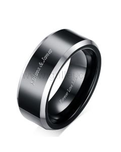 Black Personalized Mens Anniversary Ring Gift 8mm