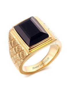 Gold Plated Mens Wedding Ring with Custom Names 18mm