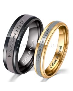 Matching Personalized Titanium Wedding Bands for Soulmates
