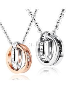 His and Hers Matching Engravable Couples Necklaces