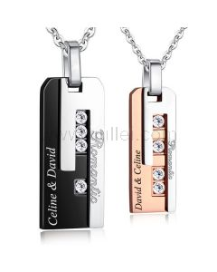 Romantic Matching Couples Pendants Jewelry Gift with Engraving