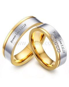 Customized Names Titanium Rings for Couples Set of 2