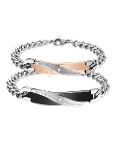 Matching Titanium Bracelets Gift Set for Him and Her