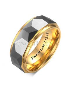 Personalized Mens Wedding Band Tungsten 8mm