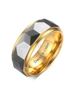 Engraved Male Wedding Band 8mm Gold Plated Titanium