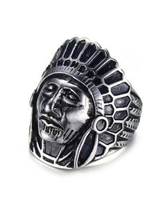 Personalized Vintage Red Indian Mens Ring 7.7mm Titanium