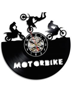Decorative Vinyl Record Wall Clock Gift for Motorcyclists Ride Fans
