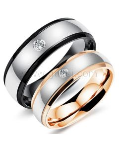 Black and Gold Titanium Promise Rings Engraved
