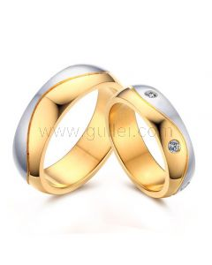 Engraved His Hers Matching Gold Plated Titanium Wedding Bands