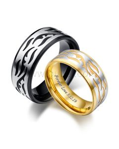 Matching Engraved Couple Rings Valentines Gift