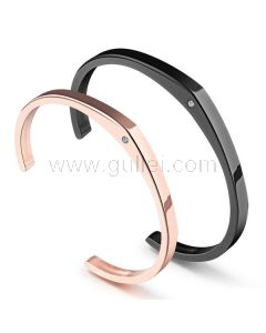 Engraved Celebrity Style His and Hers Titanium Bracelets Set