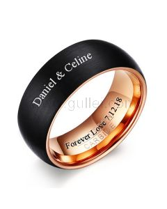 Personalized Mens Promise Ring Polished Titanium 8mm Black and Gold