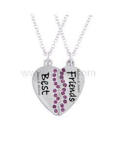 Engraved Bff Best Friends Heart Necklaces Gift