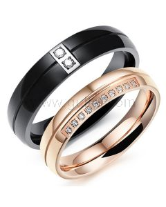Engraved His and Hers Titanium Wedding Bands Set for 2
