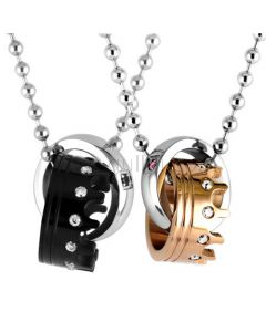 Beautiful Crown Couples Pendants Jewelry Set for 2