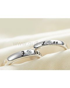 White Gold Plated Forever Love Customized Promise Rings Set
