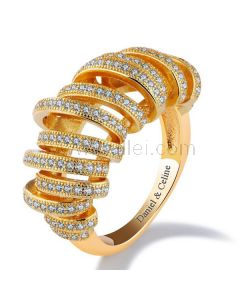 Unique Womens Ring Gold Plated Copper Rhinestones