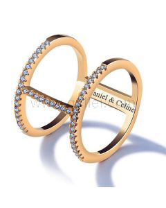 Fashion Ring for Her Gold Plated Copper Rhinestones 15mm