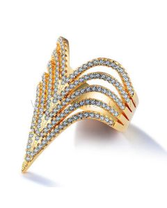 Fashion Ring for Girls Gold Plated Copper Rhinestones 30mm