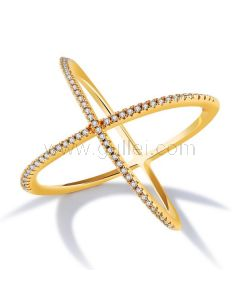 Fashion Ring for Women Gold Plated Copper Rhinestones 26mm
