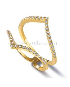 Fashion Ring for Women Gold Plated Copper Rhinestones