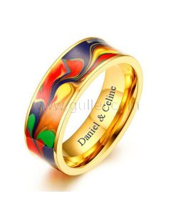 Personalized Mens Wedding Band 7mm Gold Plated Stainless Steel