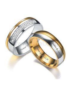 Customized Titanium Engagement Rings for Him and Her