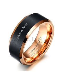 Mens Tungsten Promise Ring Birthday Engraved Gift 8mm