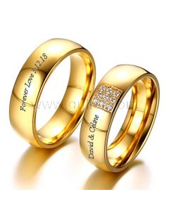 Engraved Gold Plated Couple Wedding Bands 6mm