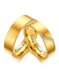 Gold Plated Wedding Rings Set with Name Engraved Titanium