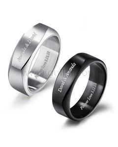 Custom Engraved Titanium Wedding Bands For Him and Her