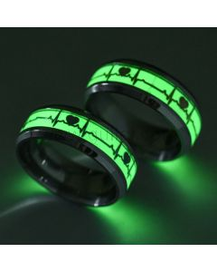 Unique Glowing Heartbeat Lovers Engraved Rings Set