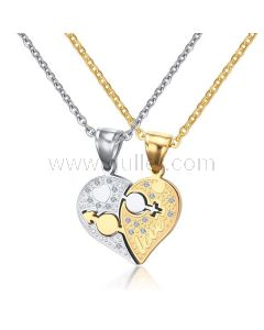 Hearts His and Hers Custom Couples Relationship Necklaces