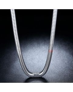 White Gold Plated Sterling Silver Mens Chain
