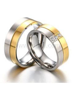 Engraved Matching Two Tone Gold Plated Wedding Bands Set