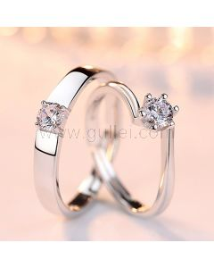 Sterling Silver Couples Engagement Rings Set