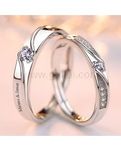 Silver Couple Promise Rings Christmas Gift