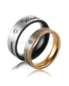 Engraved Black and Gold Matching Wedding Rings for 2