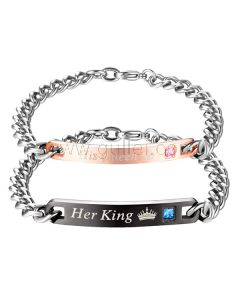 His Queen Her King Bracelets Set with Custom Names