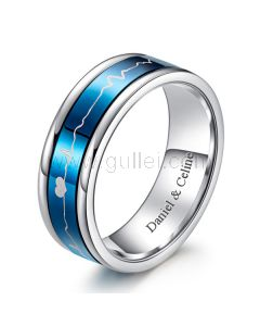 Personalized Heartbeart Mens Wedding Ring Black and Blue 9mm
