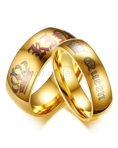 Engraved Gold Plated King and Queen Promise Couples Rings