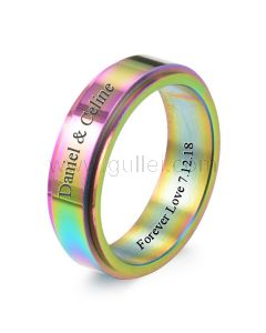 Personalized Rotating Guys Promise Ring 8mm Titanium