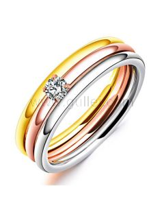 Multi-Tone Ring for Her Gold Plated Stainless Steel
