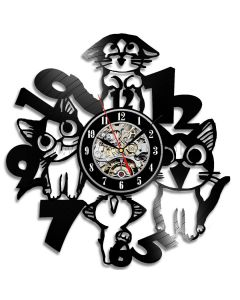 Cute Cats Theme Decorative Vinyl Clock Gift for Bedroom Wall