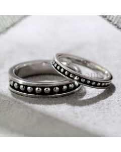 Matching Silver Couples Wedding Rings Set with Engraving