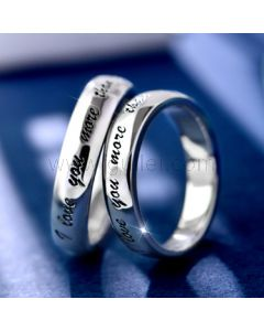 Engraved Couples Promise Silver Rings Set for Two