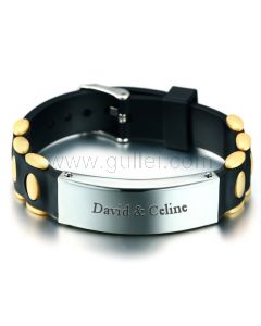 Personalized Silicione Mens Jewelry Bracelet Stainless Steel