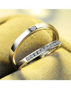 Matching Unisex Sterling Silver Engraved Promise Rings Set
